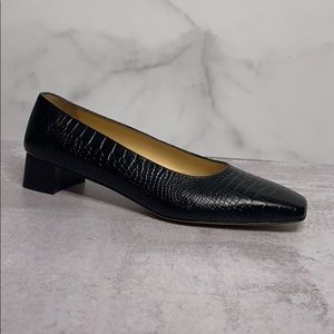 Salvatore Ferragamo Black Croc Shoes 8.5 Z 0047